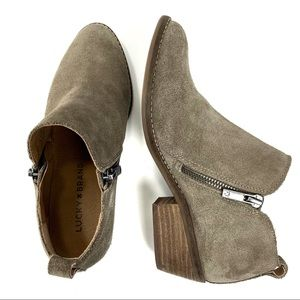 Lucky Brand side zip suede booties. Size 6.5